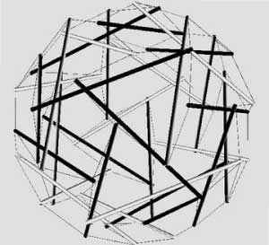 Sphericallly symmetrical polyhedral tensegrity structure