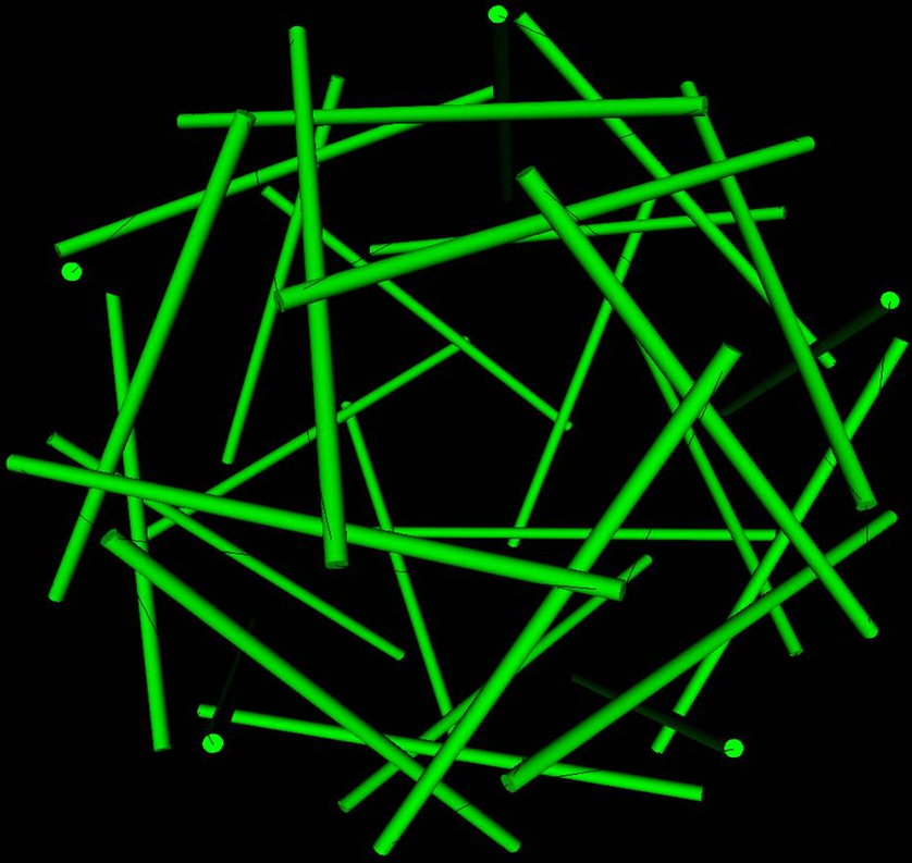 "Polyhedral tensegrity structures emerging from a configuration of non-touching ""poles"" or ""pillars"""