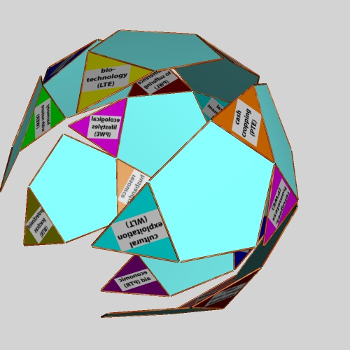 Transformation of issue arenas on an icosidodecahedral net