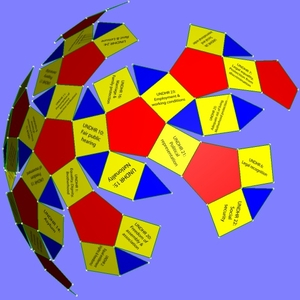 Polyhedral configuration of articles of Universal Declaration of Human Rights (partially folded net)