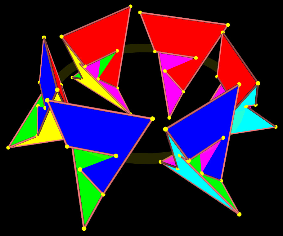 Rotation of 6 Szilassi polyhedra oriented to each other in a ring
