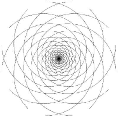 Superimposition of clockwise and counter-clockwise spirals
