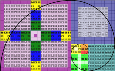 Fibonacci spiral organization of I Ching codes (reversed)