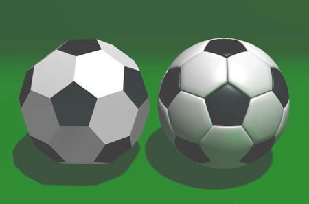 Truncated icosahedron compared with ball used in association football