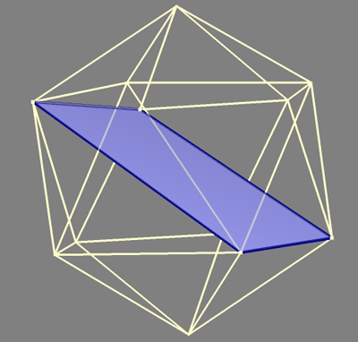 Icosahedron showing single golden rectangle