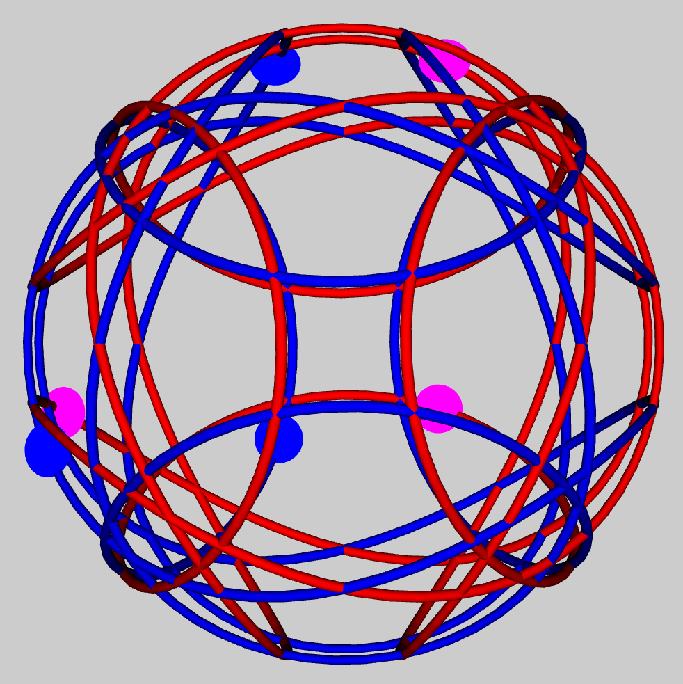 Configuration of six tennis_ball curves
