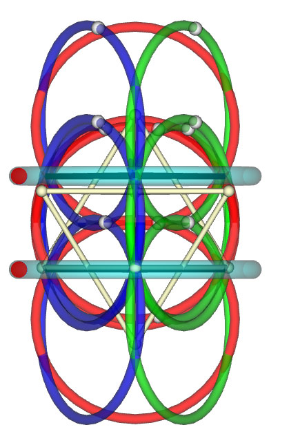 View of a star tetrahedral Merkabah framed and enhanced by rotating toroidal cycles