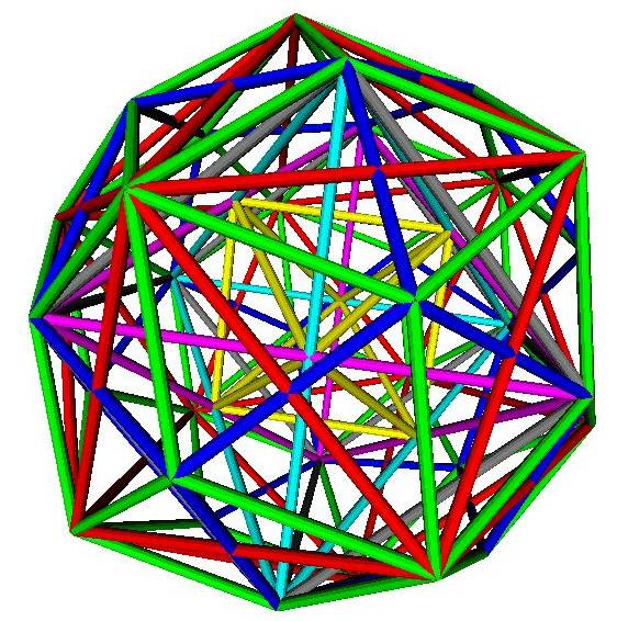 Platonic polyhedra nested within Rhombic triacontahedron