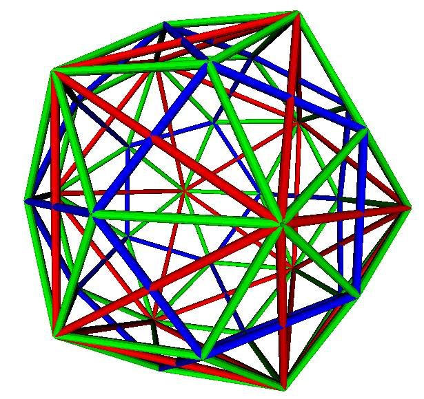 Dodecahedron and Icosahedron nested within Rhombic triacontahedron