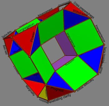 Drilled truncated cube of 64 edges with hexagram names