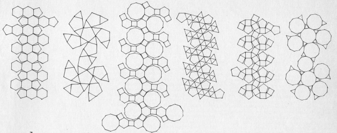 Nets of the faces of 12 Archimedean solids